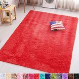 PAGISOFE Soft Girls Boys Room Rug Bedroom Nursery Decorative Carpet 4' x 5.3',Red