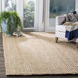 Safavieh Natural Fiber Collection NF401A Handmade Basketweave Jute Area Rug, 8' x 8' Square, Natural