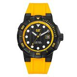 CAT Shock Diver Yellow Men Watch, 45 mm case, Black face, Date Display, Black Stainless Steel case, Yellow Silicone Strap, Black/Yellow dial (SI.161.27.127) (Yellow)