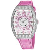 Franck Muller Vanguard Diamond Womens Swiss Quartz Watch - Tonneau Silver Face with Luminous Hands and Sapphire Crystal - Pink Leather/Rubber Strap Ladies Watch V 32 SC at FO D