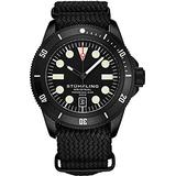 Stuhrling Original Watches for Men - Diver Watch - Mens Sport Watches with Screw Down Crown Water Resistant Black Watch up to 200M - Nylon Analog Watch Japanese Quartz Watch Movement -Mens Watches