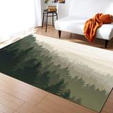 Large Area Rugs 5' x 7' Throw Carpet Floor Cover Nursery Rugs For Children/Kids, Northern World with Coniferous Trees Scandinavian Woodland, Modern Kitchen Mat Runner Rugs For Living Room/Bedroom