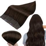 RUNATURE Human Hair Extension Invisible Halo Hair 12 Inch Brown Halo Hair Extensions Remy Human Hair 70g Hidden Crown Hair Extensions Real Hair Extension Remy Halo Hair Extensions
