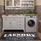 """USTIDE Black Rug Laundry Room Runner Non-Slip Area Mat Rugs for Bathroom Kitchen Farmhouse Entryway Foam and Cushioned (20""""x59"""")"""
