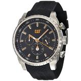 CAT Podium Chrono Black Men Watch, 45 mm case, Black face, Stainless Steel case, Black Rubber Strap, Black/Yellow dial (AE.143.21.137) (Black/Yellow)