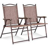 Giantex Set of 2 Patio Folding Chairs, Sling Chairs, Indoor Outdoor Lawn Chairs, Camping Garden Pool Beach Yard Lounge Chairs w/Armrest, Patio Dining Chairs, Metal Frame No Assembly, Brown