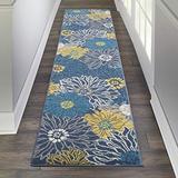 "Nourison Passion Floral Bohemian Blue 2'2""X10' Area Rug (10' Runner)"