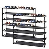 Jerry & Maggie - 6 Tier Steel Shoe Rack Shelf with One Drawer Clothes Rack Shoe Storage Shelves Free Standing Flat Racks Classic Style - Multi Function Shelf Organizer | 2 Unit Pack