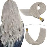 YoungSee I Tip Hair Extensions Human Hair 14inch Pre Bonded I Tip Human Hair Extensions Grey Silver Hair Extensions Cold Fusion Hair Extensions Remy Human Hair I Tip Extensions 0.5g/s 50g