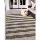 Unique Loom Outdoor Striped Collection Modern Transitional Indoor and Outdoor Flatweave Green Area Rug (8' 0 x 11' 4)