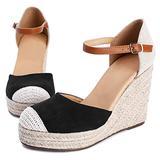 Womens Closed Toe Espadrilles Wedge Shoes Platform Heel Ankle Strap Dress Sandals
