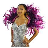 Feather Carnival Costume Samba Backpack - Adult Cosplay/Halloween Costumes Purple