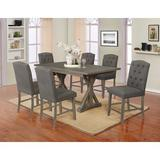 Gracie Oaks Elisabeth 7 Piece Counter Height Set Wood/Upholstered Chairs in Gray, Size 36.0 H x 40.0 W x 72.0 D in | Wayfair