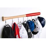KT Bats Coat Rack Wall Mount Baseball Bat Cap Hat Towel Jersey Display Fully Assembled Unique Idea for Sports Fans Perfect Mudroom Bedroom Entryway Bathroom Organization System with 8 Hooks (Red)