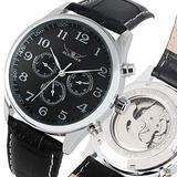 Classic Automatic-self-Winding Mechanical Watch for Boy, Business Stainless Steel Skeleton Mechanical Watches for Male, Arabic Digital Black Dial Mechanical Wristwatch for Men