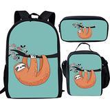 Dzulife Funny Sloth Animal Print Kids Backpack with Lunch Bag Elementary School Childrens Back Pack Rucksack School Bag Set for Boys