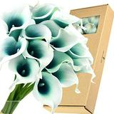 FiveSeasonStuff Real Touch Calla Lily Artificial Flowers Wedding Bridal Bouquet   Floral Arrangements   15 Calla Lilies (Silk White & Carribean Green)