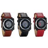 JewelryWe Women Watches Square Dial Quartz Watch Stylish Leather Strap Causal Wristwatches