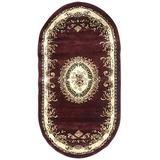Traditional Burgundy Aubusson Floral Oval Persian 330,000 Point Area Rug Design 602 (31 Inch X 4 Feet 11 Inch)