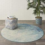 Nourison Area Rug, Passion , Modern Abstract, Navy/Light Blue, 4' x Round (4xROUND), XROUND