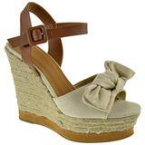 BAMBOO Choice 58 Womens Slingback Buckle Espadrille Wedge Platform Dress Sandals Gold 9