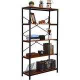 BATHWA Tall Bookcase, Open Bookshelf Modern Wide Book Shelf Wood Metal Industrial Bookcase Furniture Shelving Unit Storage 4 Tier Bookshelf