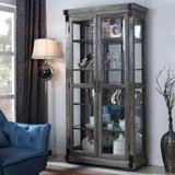 17 Stories Stafford Curio CabinetWood in Brown/Gray, Size 80.0 H x 42.0 W x 18.0 D in | Wayfair JL40 Curio