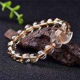 Zozu Wholesale Ghost Natural Stone Bracelets Gold Hair Crystal With Fox Energy Stone Hand Row Lucky for Women Men Crystal Jewelry (gold hair)