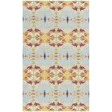 Dash and Albert Rugs Moorehead Ikat Hand Knotted Light Blue/Yellow/Red Area Rug Polyester/Cotton/Wool in Blue/Red/Yellow   Wayfair DA1131-810