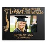 Winston Porter Laputz Worth the Hassle Personalized Picture Frame Wood in Black/Brown, Size 6.75 H x 8.75 W x 0.5 D in | Wayfair