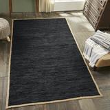 World Menagerie Hinkel Handmade Flatweave Onyx Area Rug in Black/Brown, Size 120.0 H x 96.0 W x 0.31 D in | Wayfair