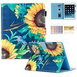 iPad 4/3/2 Case, Casii Slim Protective Kickstand Smart Shell Magnetic Folio Flip Cover with [Auto Sleep/Wake] Multi-Angle Viewing for 9.7 Inch Apple iPad 2, iPad 3 & iPad 4th Generation, Sunflower