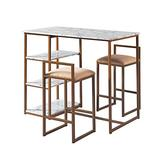 Versanora Marmo Table & Chairs Set, White