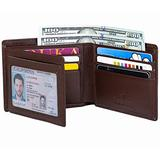 Men's Bifold Wallet - RFID Blocking Cowhide Leather Vintage Travel Wallet (Nappa Chocolate–Smooth Top Grain Leather)
