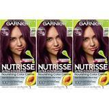 Garnier Hair Color Nutrisse ultra coverage nourishing hair color creme, Cabernet 420, 1 Count, Pack of 3