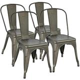 YAHEETECH Metal Dining Chairs Set of 4 Stackable Dining Room Chairs Side Chairs Patio Dining Chairs with Back, Each Chair Load Capacity: 340 lbs,Gun Metal