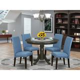 Charlton Home® Jasper 5 - Piece Solid Wood Rubberwood Dining Set Wood/Upholstered Chairs in Blue/Brown, Size 30.0 H x 42.0 W x 42.0 D in | Wayfair