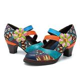 CrazycatZ Womens Leather Mary Jane Shoes Colorful Patchword Block Heel Pumps Vintage Mary Jane Shoes (39 EU 8 US, SM-04)