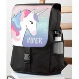 Personalized Planet Backpacks Purple - Black & Lavender Unicorn Personalized Flap Backpack