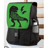 Personalized Planet Backpacks Green - Black & Green T-Rex Personalized Flap Backpack