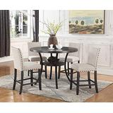 Best Master Furniture Darlington Round 5 Piece Counter Height Dining Set, Black