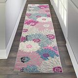 """Nourison Passion Floral Bohemian Grey 2'2""""X10' Area Rug (10' Runner)"""