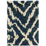 Dash and Albert Rugs Sahara Animal Print Hand-Knotted Navy Area Rug Cotton/Jute & Sisal in White, Size 36.0 H x 24.0 W x 0.25 D in | Wayfair