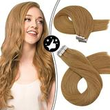 Moresoo Human Hair Extensions Tape in 14 Inch Tape in Remy Human Hair Extensions Blonde Hair Extensions #14A Real Remy Human Hair Glue in Extensions Seamless Skin Weft Glue Hair Extensions 40g/20pcs