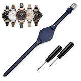 KAMIU Women's 8mm Watch Band Genuine Calf Leather Replacement Straps Watch Strap for Fossil ES3148 ES4119 ES4176 ES3262 ES3077 (Dark Blue - Silver Buckle)