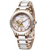 LIGE Women's Watches Fashion Casual Lightweight Analog Quartz Watch for Women Waterproof Ceramic Band Simple Elegant Ladies Watch Luxury Business Rose Gold White Steel Lady Bracelet Wristwatch
