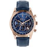 Daniel Steiger Ambassador Men's Watch - Men's Chrongraph Watch - Luxury Leather Band - Tachymetre Dial - 100m Water Resistant (Blue)