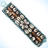 "1 1/2"" Handmade Beach Cowry Shell Turquoise Peacock Glass Seed Beads Crystal Fashion Jewelry Bracelet"