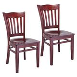 Beechwood Mountain Hybrid Side Chair in Mahogany with Wood Seat (Set of 2)
