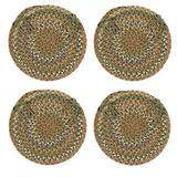 """Set of 4 Farmhouse Chair Pads with Ties, Four Beige Sage Green Braided Circle Chair Cushions, Natural Multi Color Braids Dining Room Seat Pad Country Rustic Farm Table Decor, 15"""" Round Synthetic Wool"""